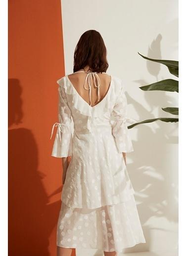 Nocturne Jakarlı Puantiye Desen Elbise Ekru